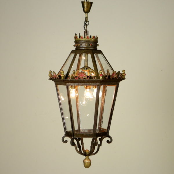 Wrought iron large lantern (116 cm) - Italy, first half of the 20th century