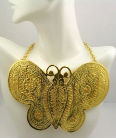 "Kenneth Jay Lane -  Enormous butterfly necklace ""Couture Collection"""