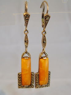 Art Deco earrings with butterscotch ambers and marcasites