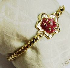 Bracelet in 18 kt yellow gold from the Italian brand 'Le Gi' – cabochon cut rubies, wrist diameter: 6 x 4.5 cm