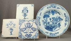 De Porceleyne Bijl and unknown - Plate with a chinoiserie landscape decor and three Delft tiles