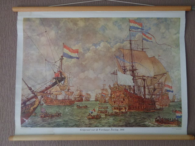 "Beautiful old history school poster with VOC ships by Isings on linen with the title ""court martial for the four days battle 1666"""