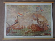 """Beautiful old history school poster with VOC ships by Isings on linen with the title """"court martial for the four days battle 1666"""""""