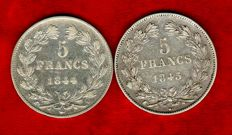 France - 5 Francs 1844-W, 1845-W (set of 2 coins) - Louis Philippe - silver