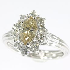 Vintage engagement ring from the seventies with special champagne colour marquise diamond