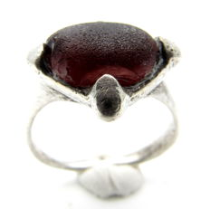 Saxon Era Silver Ring with Dark Red Stone - 18mm