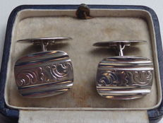 Antique, silver cufflinks in Art Nouveau style