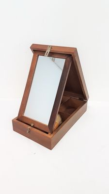 Monsieur wooden shaving box with mirror and shaving equipment