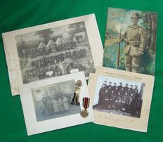 WW1 German Hindenburg Cross with Swords, 25 years of Service Military Veterans Land Army Association, & 4 Large Photos