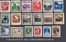 Liechtenstein 19219-1930 –Commemoration and diverse topics – SBK: No. 80 to 83 and 84 to 97.