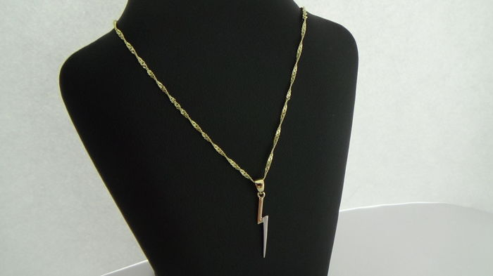 14 kt Gold Necklace & Pendant (Lightning), L 45 cm