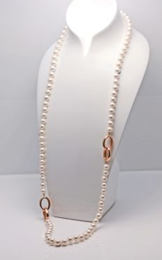 Multifunctional Freshwater Pearl Necklace 9x10mm Round with 925 Silver Links, L 96cm