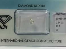 Diamond in old mine cut, 0.34 ct. G SI 1 with IGI certificate