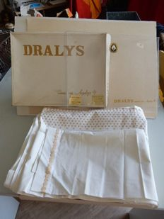 Very beautiful new drapery set with pillowcase in its box - year 1970 - Vintage - pure cotton - France