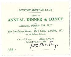 W. O. Bentley Hand-signed BDC Event Ticket – Bentley Driver's Club Dinner Dance, 1951