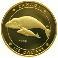 Canada – 100 Dollars 1988 'Bowhead Whales' – gold