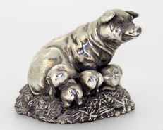 Silver pig and piglet figurine - Birmingham - ca. 1995
