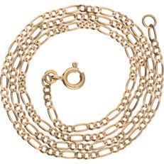 8 kt (Below legal gold grade) – Yellow gold figaro link necklace – Length: 41.3 cm