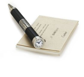 CARTIER - unique - silver and black lacquer BALLPOINT/WATCH/CALENDAR pen Limited Edition 2000 with 259 or BOX