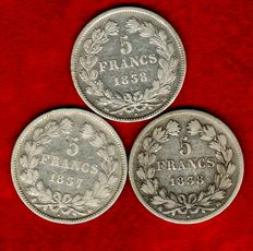 France – 5 Francs 1837-K, 1838-B, and 1838-BB (set of 3 coins) – Louis Philippe – Silver