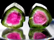 Pair of Perfect Watermelon Tourmaline Slices Lot - 13.50 ct (2)