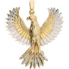 14 kt Bi-colour, movable pendant in the shape of a bird of prey.