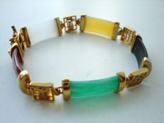 Vintage 1970s - Asian motif Gold plated flexible unisex Bracelet with multicoloured Jade lucite