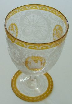 Bohemian crystal wine/water glass, Czechoslovakia, early 20th Century