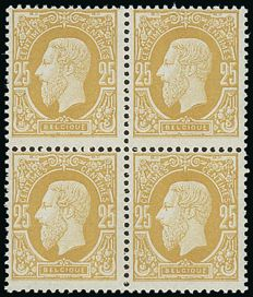 1869 OBP 32B, Leopold II, 25 c, olive – block of 4 with sheet edge