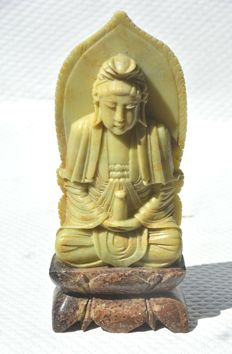 Soapstone (21 cm) statue Buddha Kwanyin – China – 2nd half 20th century