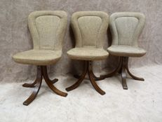 Unknown manufacturer - set of three rotatable wooden chairs