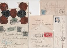 Kingdom of Italy 1862-1936 – Lot of 4 stamped envelopes with stamps from the Kingdom