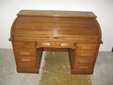 Cylinder desk made of oak wood with matching office chair, 20th century