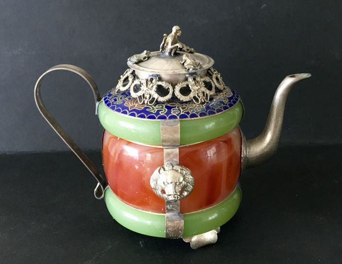 Teapot with enamel and metl mountings – China – Late 20th century