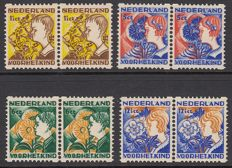 The Netherlands 1932 – Children's stamps with syncopated perforation – NVPH R94/R97 in horizontal pairs