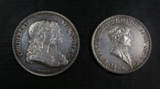 France - lot of 2 tokens: 'Agents de Change de Lyon' and 'Hôpitaux Civils de Lyon' – Silver