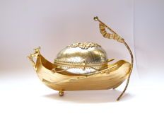 Gold-plated Viking ship. Egg jewelery holder.