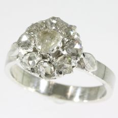 Victorian gold backed silver rose cut diamond ring - anno 1880