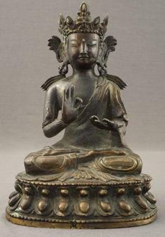 Sculpture of seated Buddha on lotus throne – China – circa 1900