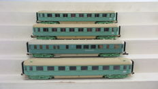 "Roco H0 - 44283/44290 - 4 express-train/dining wagons 1st/2nd class with dining ""Plan-D Bolkoppen"" of the NS, in turquoise colour scheme"