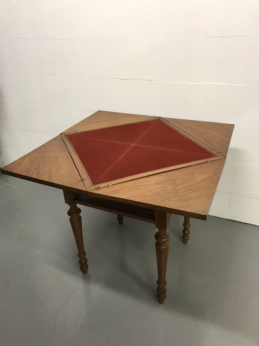 Oak wood game/card table,  envelope system, France, first half of 20th century