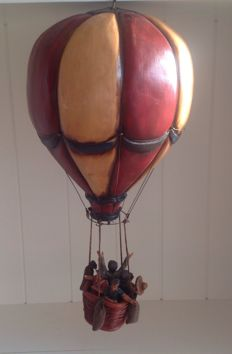 Wooden hot air balloon with balloonists - from the 1980s