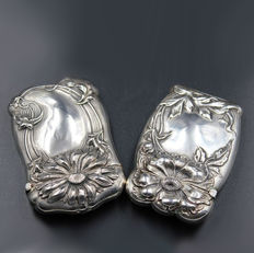 Elegant Pair of Art Nouveau Sterling Solid Silver Match Safe / Vesta Case