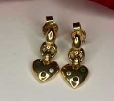 Vintage 9Kt. gold earrings in form of a heart enchanted with multicolor gems: Ruby, Sapphire, Emerald and presumably white Topaz.