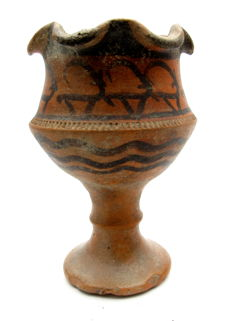 Indus Valley Painted Terracotta Cup with Antelope motifs - 110x70mm
