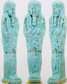Nice blue faience Shabti for Isisemachbit, born of Padihor - ca. 11,4 cm - c. 4,49 inches