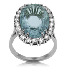 Large Aquamarine and Diamond 'Dress Ring', as new.