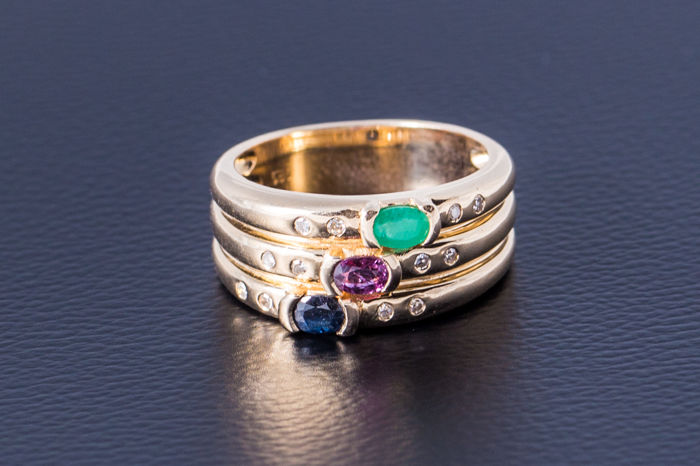 Gold ring made of 585 yellow gold with ruby, sapphire, emeralds and 12 diamonds – diamond – size 54.5 / 17.6 mm