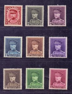 Belgium 1931 – King Albert I, type kepi – OBP 317/324