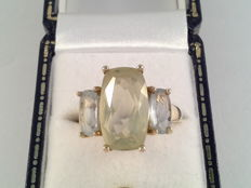 Large yellow gold ring with citrine and aquamarine